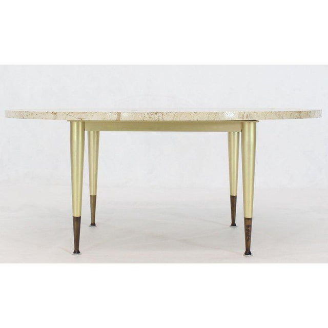 Italian Modern Round Travertine Top Coffee Table on Tapered Metal Legs Base For Sale - Image 6 of 11