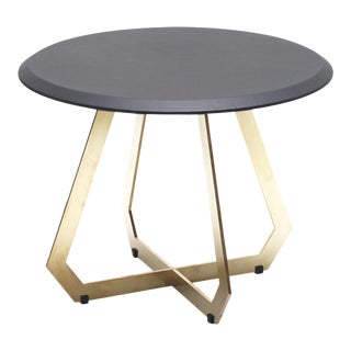 Contemporary Black Leather and Brass Side Table For Sale
