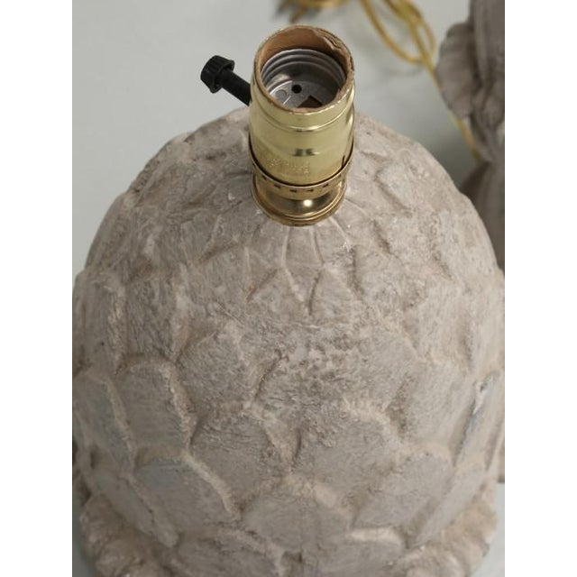 Artichoke Faux Stone Lamps - a Pair For Sale In Chicago - Image 6 of 11