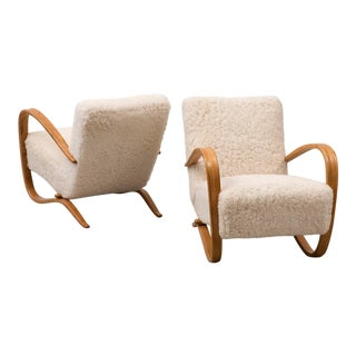 Pair of Lounge Chairs Model H269 by Jindrich Halabala, Czechoslovakia, 1930s