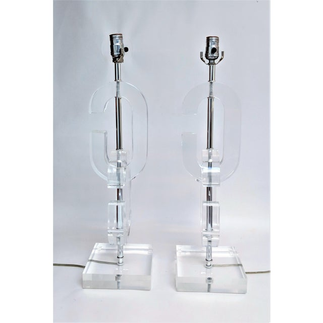 """Mid-Century Modern Lucite """"Cc"""" Table Lamps in the Manner of Chanel - A Pair For Sale - Image 3 of 11"""