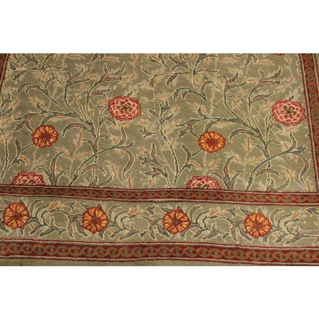 "William Morris Pak-Persian Jasmine Green Red Wool Rug - 4'1"" x 5'11"" For Sale In New York - Image 6 of 8"