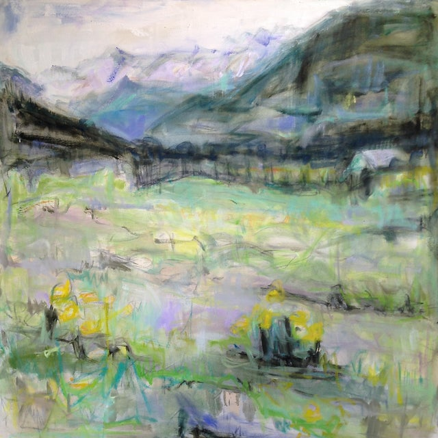 "Large Abstract Landscape by Trixie Pitts ""Rocky Mountain High"" - Image 1 of 6"