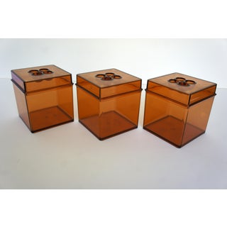 Danish Modern Gunnar Cyren for Dansk Gourmet Designs Amber Lucite Cube Canisters - Set of 3 Preview