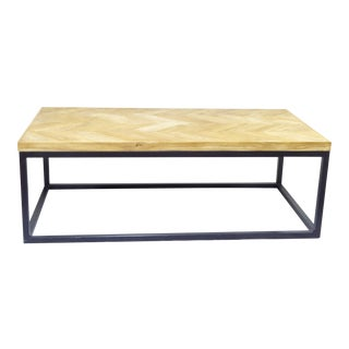 Vintage Iron & Weathered Parquet Coffee Table For Sale