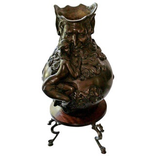 Art Nouveau Bronze Urn With Figure of God & Female For Sale