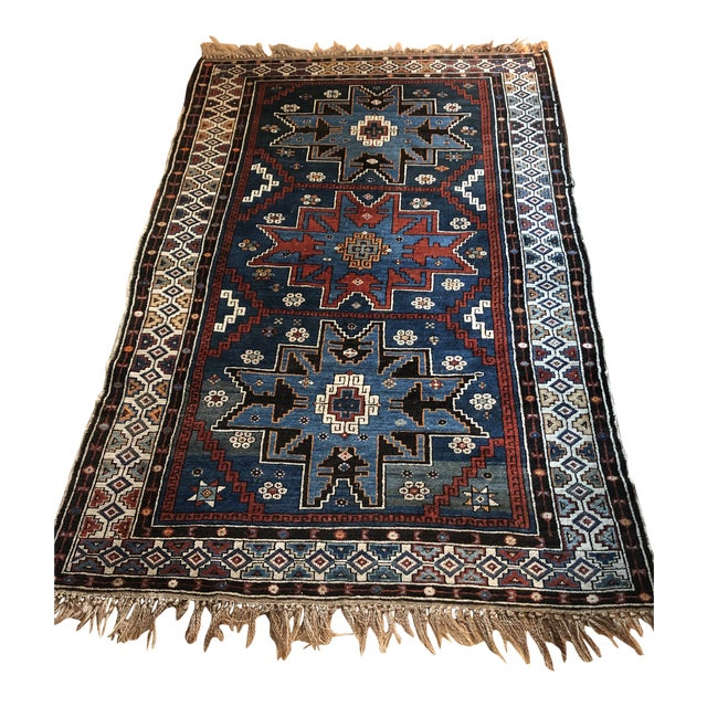 Antique Area Rug in Blues and Cranberry For Sale