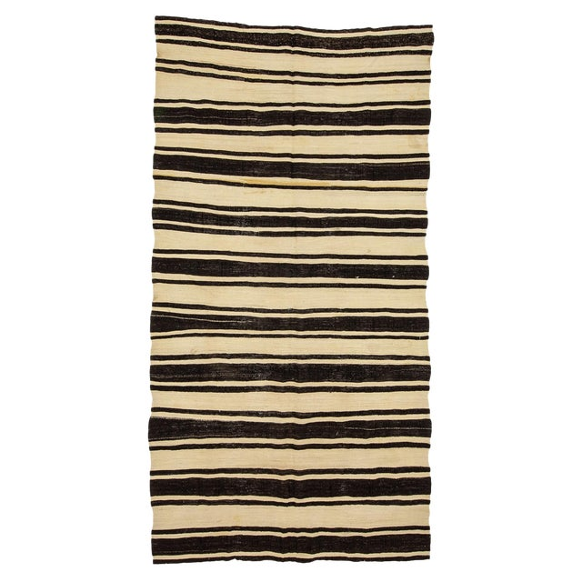 1960s Vintage Striped Natural Kilim Rug- 5′10″ × 11′3″ For Sale