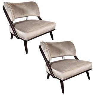 Pair of Midcentury Slipper Chairs in Ebonized Walnut by Robsjohn-Gibbings For Sale