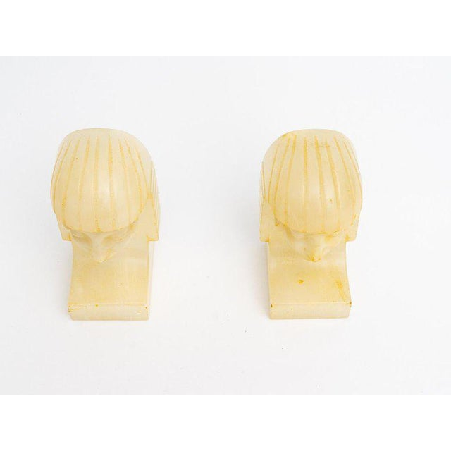 1920s Egyptian Revival Art Deco Alabaster Bookends - a Pair For Sale - Image 5 of 11