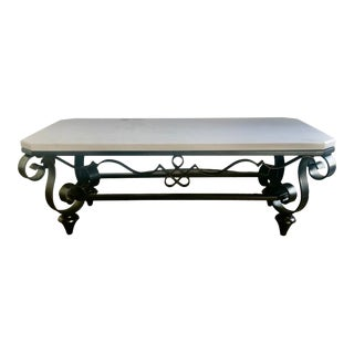 1940s Wrought Iron and Marble Coffee Table in the Style of Poillerat For Sale