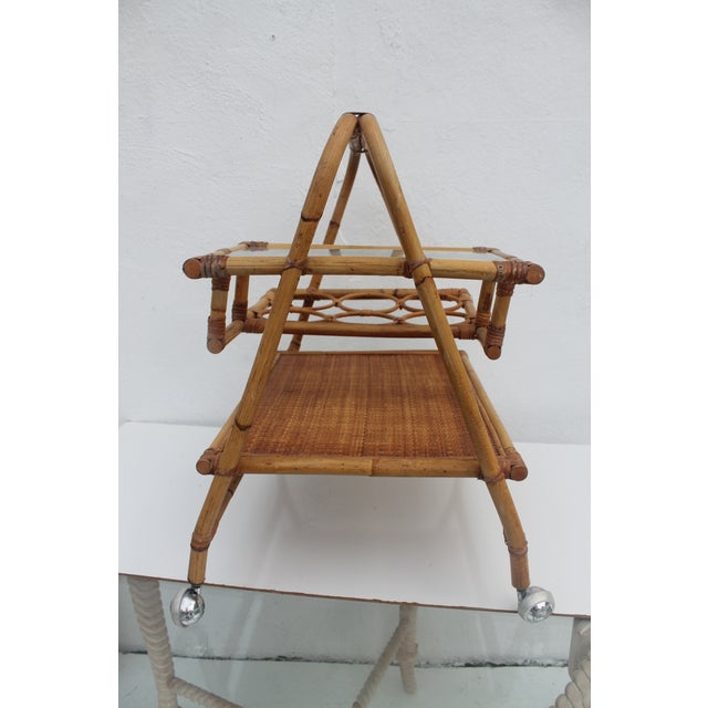 Vintage Small Rolling Wicker & Rattan Tea Cart For Sale - Image 4 of 11