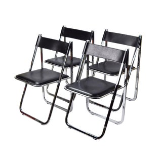 1970's Vintage Arrben Tamara Italian Chrome Black Leather Folding Chairs- Set 4 For Sale