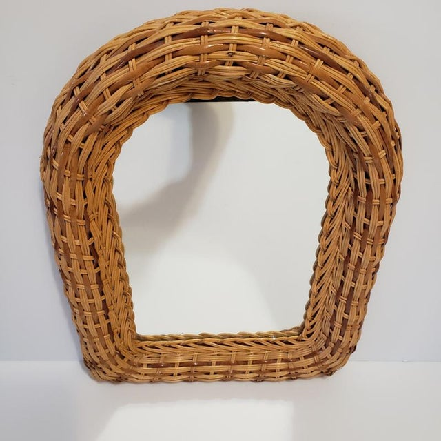 Mid-Century Modern Vintage Natural Wicker Original 1970s Arch Wall Mirror For Sale - Image 3 of 10