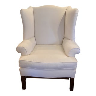 Vintage White Wingback Chair For Sale