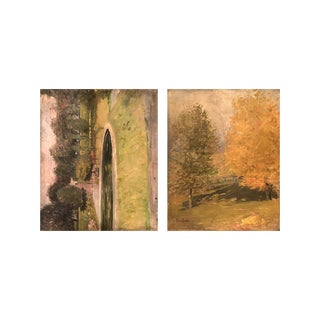 """Frank Fowler American Impressionist """"Landscape With Pond / Fall Landscape"""" Double-Sided Painting For Sale"""