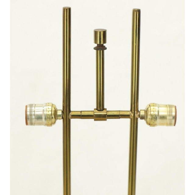 Pair of Walnut and Brass Diamond Pattern Table Lamps For Sale - Image 12 of 13