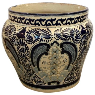 Large Mexican Hand Painted Cobalt Blue & White Signed Planter For Sale