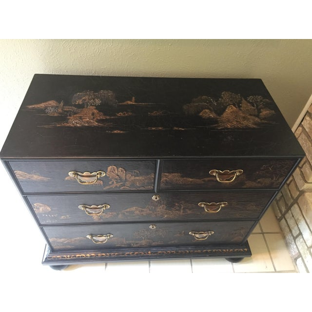 Brass Vintage Baker Chinoiserie Gold and Black Lacquer Chest of Drawers For Sale - Image 7 of 12