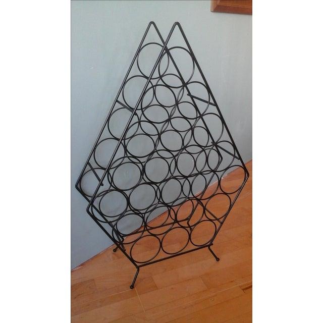 Vintage Mid-Century Metal Wire Diamond Wine Rack - Image 2 of 4