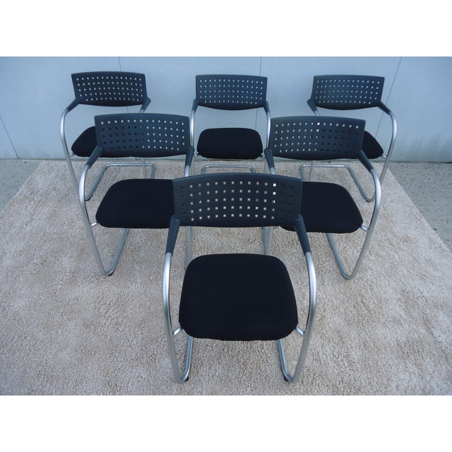 2000s Modern Antonio Citterio for Vitra Visasoft Visavis Guest and Conference Chairs- Set of 6 For Sale - Image 5 of 13