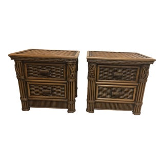 1990s Vintage Rattan Nightstands-a Pair For Sale