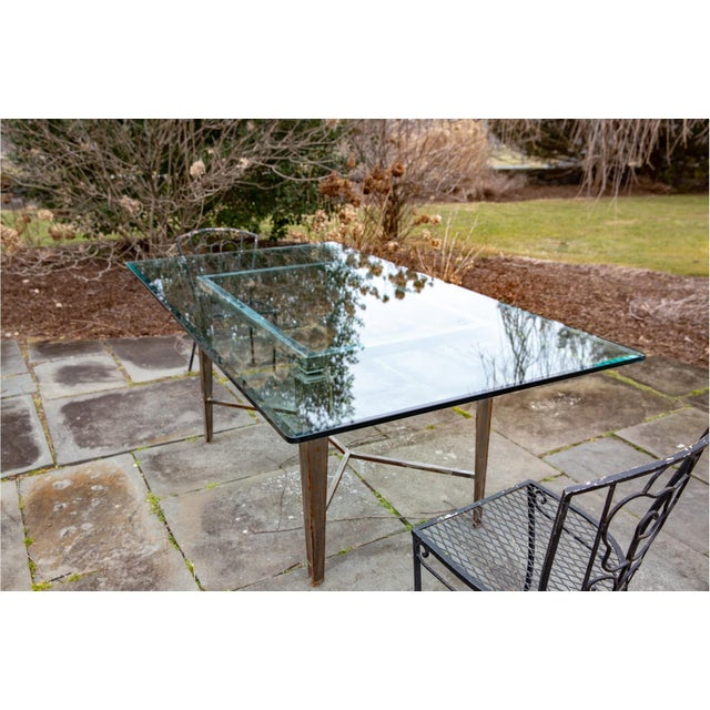 Gray Vintage Glass Top and Steel Rectangular Dining Table For Sale - Image 8 of 12