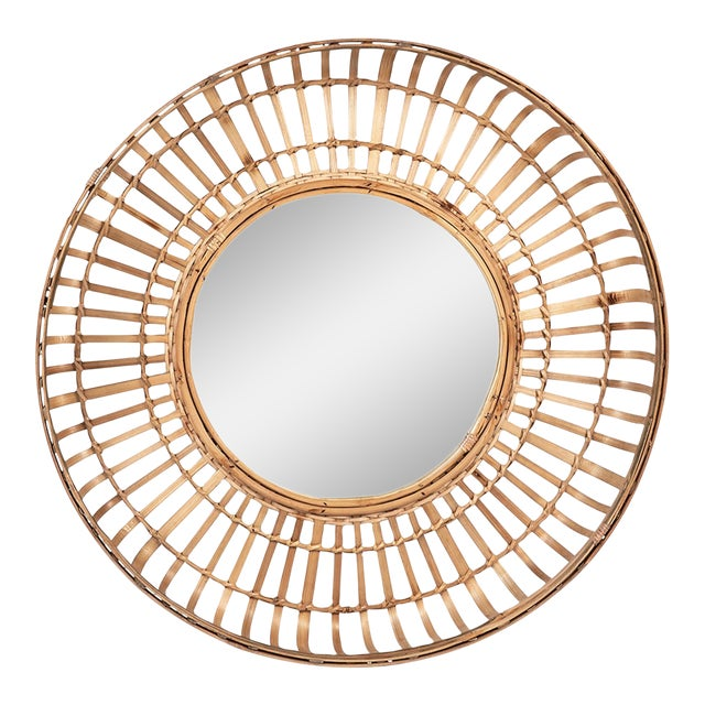 Tan Bamboo Basket Mirror For Sale