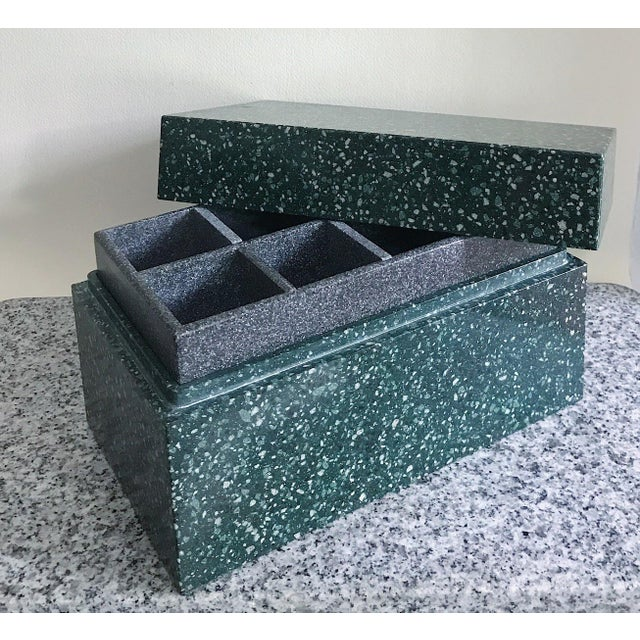 Post Modern Green Jesmonite Terrazzo Stone Jewelry Box For Sale - Image 10 of 10