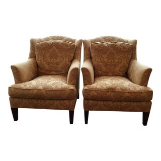 "Modern Baker Furniture ""Juliette"" Loose Back Wing Chairs- A Pair For Sale"