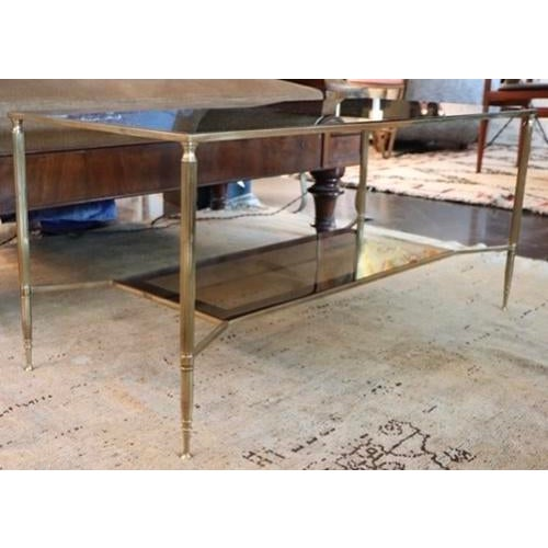 Two Tiered Brass and Mirrored Coffee Table For Sale - Image 4 of 7