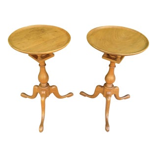 1960's Traditional Robert Treate Hogg for American Furniture Craftsman Tilt Top Wine Tables - a Pair For Sale