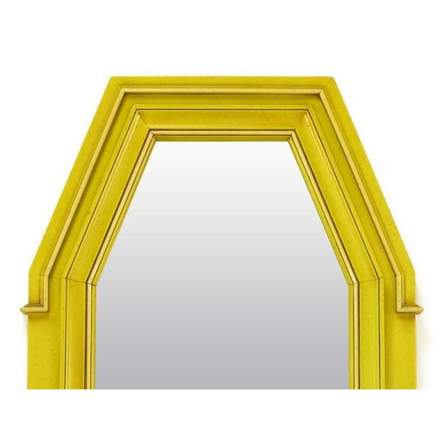 Empire Style Console and Mirror in Glazed Yellow Lacquer For Sale - Image 9 of 10