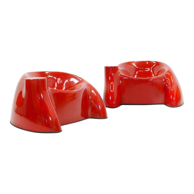 Memphis 1969 Wendell Castle Molar Collection Red Lounge Chairs - a Pair For Sale - Image 3 of 3