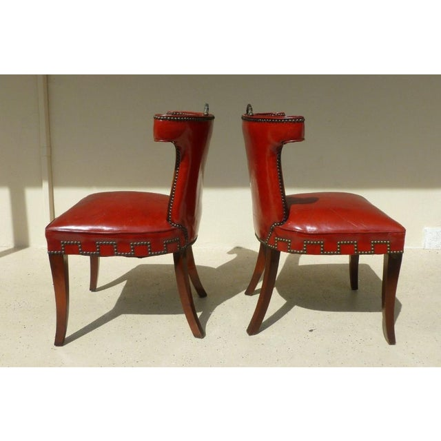 Hollywood Regency 40's Klismos Dorothy Draper Style Hollywood Regency Red Leather and Brass Tack Chairs -A Pair- P For Sale - Image 3 of 8