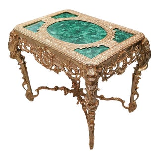 Mid 20th Century Malachite Gilt Bronze Imperial Style Coffee Table For Sale