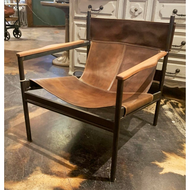 Safari Vachetta Coffee Leather Barcelona Chair by Cisco Brothers For Sale - Image 3 of 13