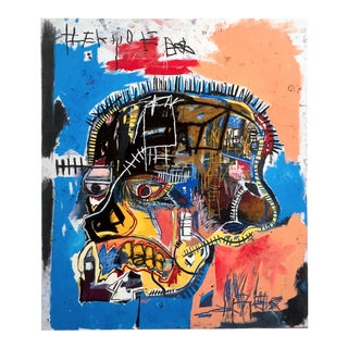 "Jean Michel Basquiat Estate Iconic Fine Art Lithograph Pop Art Print "" Skull "" 1981 For Sale"