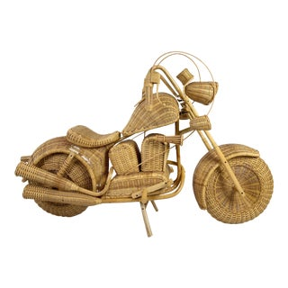 Vintage 1980s Life-Size Wicker + Rattan Motorcycle For Sale