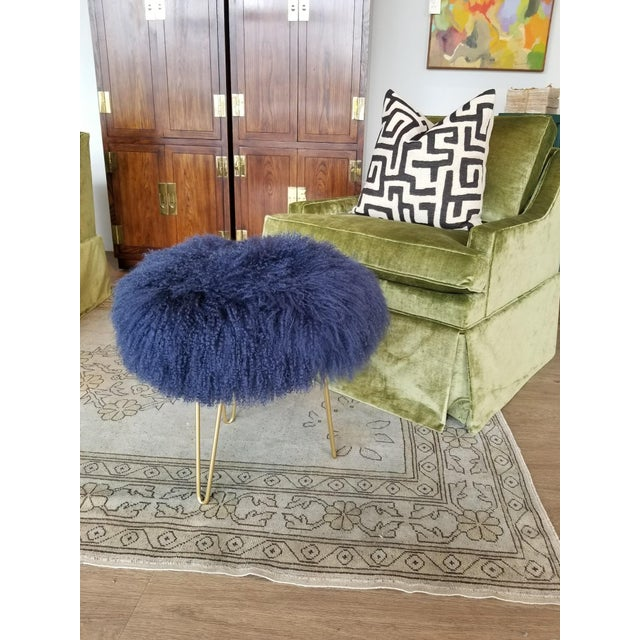 Genuine Mongolian Lamb Stool. Navy blue. Custom/Hand made in Hickory, NC. Variety of colors available. Gold Hairpin Legs