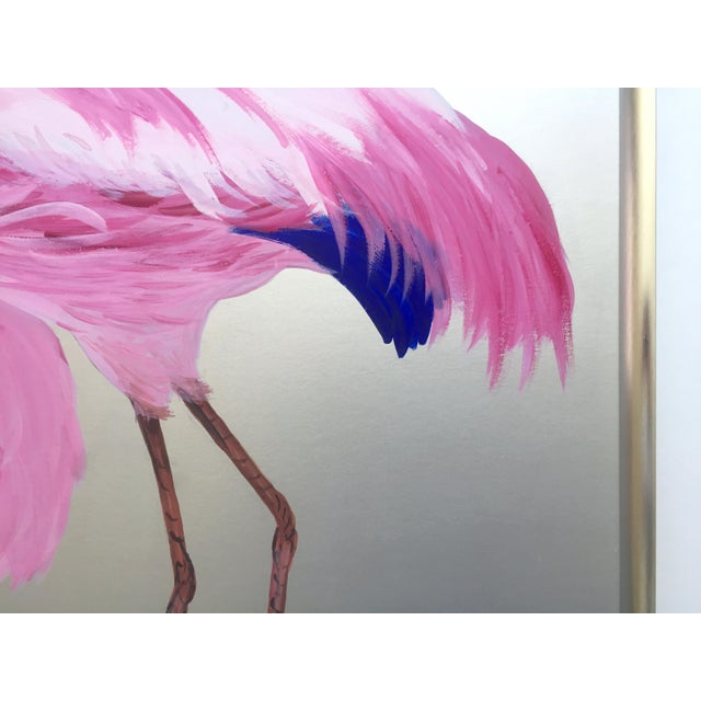 """Rare Vintage 1950s Art Deco """" Pink Flamingos in Lagoon """" Framed Original Fine Art Gouache Painting on Board For Sale - Image 10 of 13"""