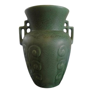 Stylized Art Deco Celadon Green Pottery Vase For Sale