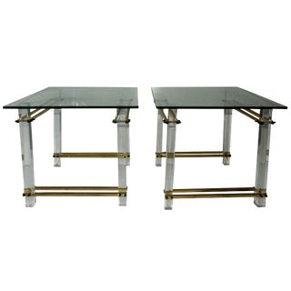 Vintage Fiam Italia Lucite & Brass Glass Top Side Tables- A Pair For Sale