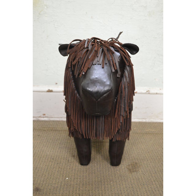 Stupendous Hand Crafted English Leather Lion Footstool Beatyapartments Chair Design Images Beatyapartmentscom