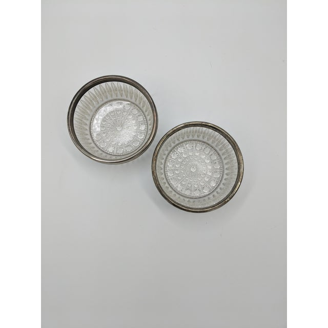 Traditional Silver Rimmed Cut Glass Bowls - a Pair For Sale - Image 3 of 4
