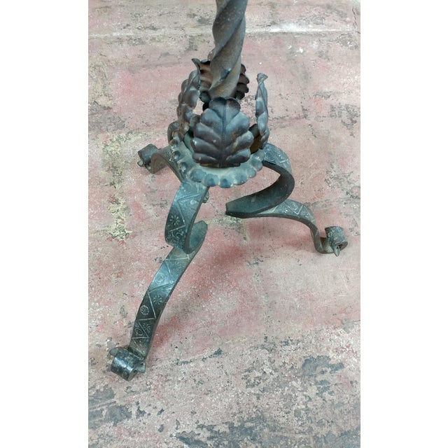 Antique Spanish Gothic Wrought Iron floor Candelabra For Sale - Image 9 of 12