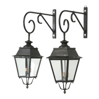 Pair of Vintage French Lanterns With Wavy Glass For Sale