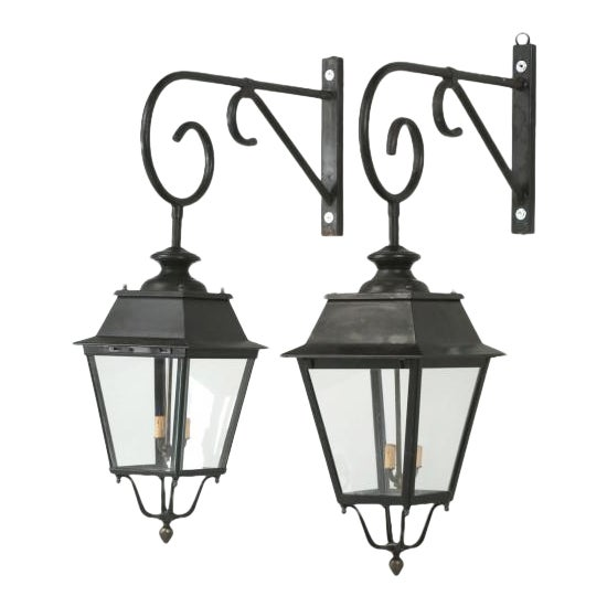 Vintage French Lanterns With Wavy Glass - a Pair For Sale