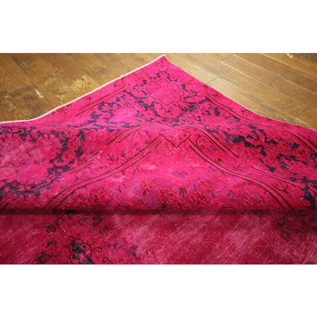 """Pink Overdyed Oriental Floral Rug - 9'6"""" x 14'10"""" - Image 9 of 10"""