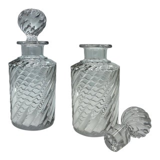 Mid 19th Century Vintage Spiral Swirl Cut La Bernini Column Etched Crystal Whiskey Decanter, Liquor Container, Signed - a Pair For Sale